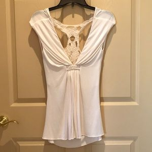 NWOT Cream/white Tank top with Lace detail size M